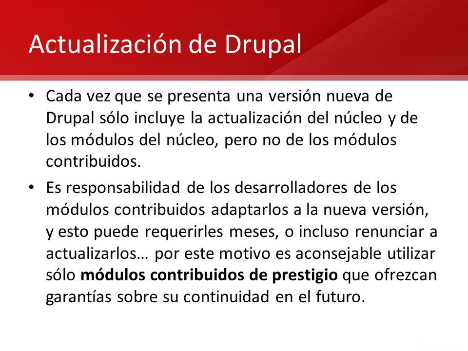 Actualización de Drupal Cada vez que se presenta una versión nueva de Drupal sólo incluye la actualización del núcleo y de los módulos del núcleo, per