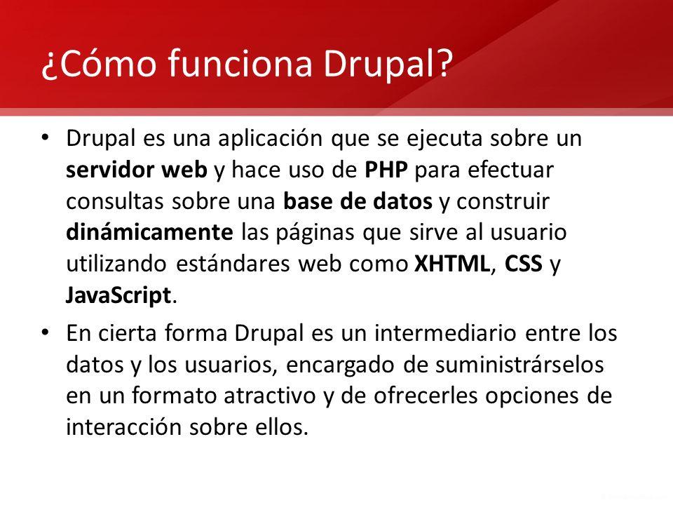 ¿Cómo funciona Drupal? Drupal es una aplicación que se ejecuta sobre un servidor web y hace uso de PHP para efectuar consultas sobre una base de datos