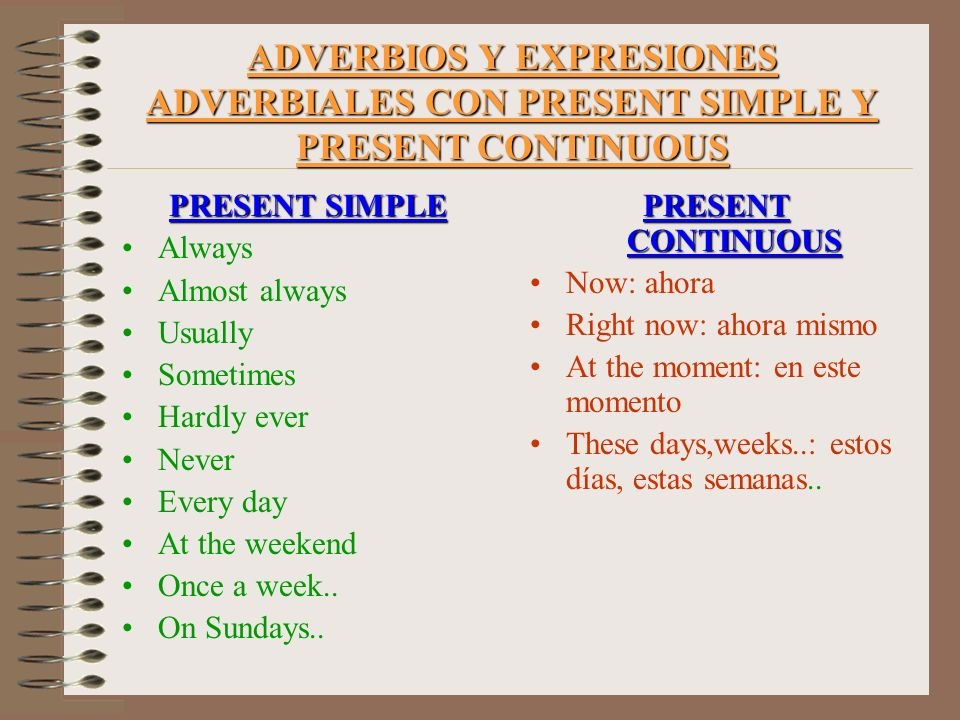 ADVERBIOS Y EXPRESIONES ADVERBIALES CON PRESENT SIMPLE Y PRESENT CONTINUOUS PRESENT SIMPLE Always Almost always Usually Sometimes Hardly ever Never Ev