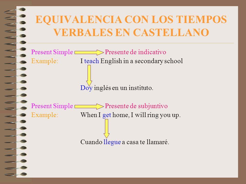 EQUIVALENCIA CON LOS TIEMPOS VERBALES EN CASTELLANO Present Simple Presente de indicativo Example:I teach English in a secondary school Doy inglés en