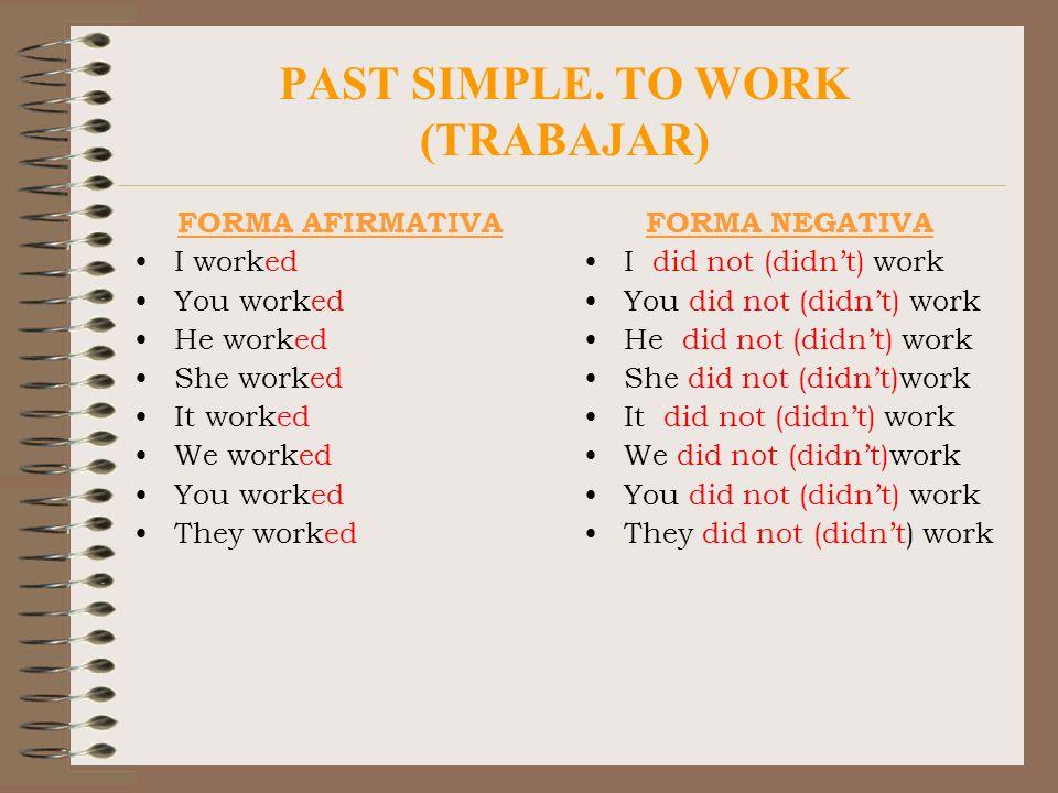 PAST SIMPLE. TO WORK (TRABAJAR) FORMA AFIRMATIVA I worked You worked He worked She worked It worked We worked You worked They worked FORMA NEGATIVA I