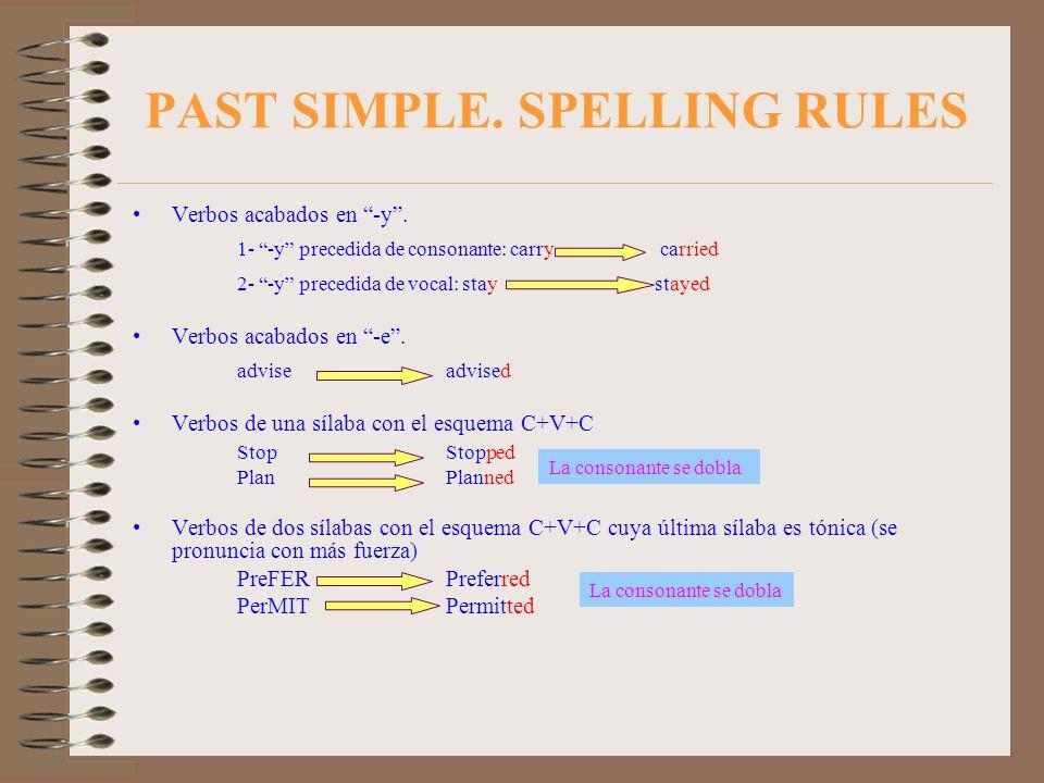 PAST SIMPLE. SPELLING RULES Verbos acabados en -y. 1- -y precedida de consonante: carry carried 2- -y precedida de vocal: stay stayed Verbos acabados