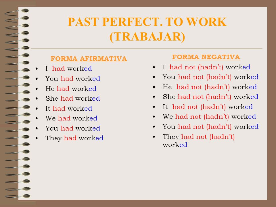 PAST PERFECT. TO WORK (TRABAJAR) FORMA AFIRMATIVA I had worked You had worked He had worked She had worked It had worked We had worked You had worked