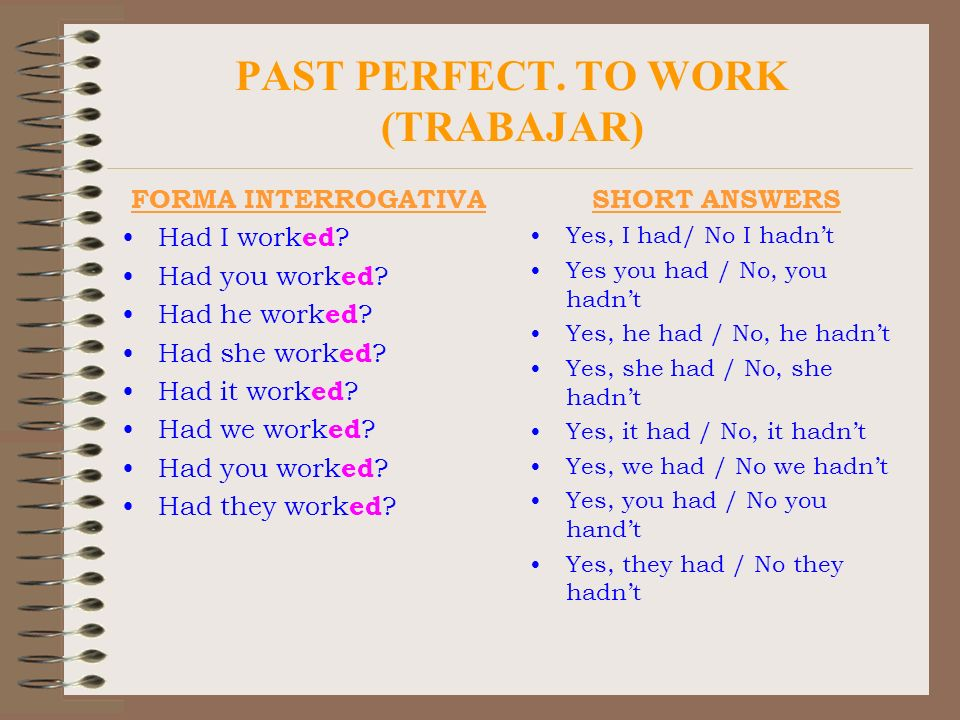 PAST PERFECT. TO WORK (TRABAJAR) FORMA INTERROGATIVA Had I work ed ? Had you work ed ? Had he work ed ? Had she work ed ? Had it work ed ? Had we work