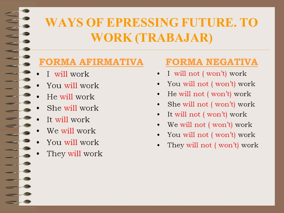 WAYS OF EPRESSING FUTURE. TO WORK (TRABAJAR) FORMA AFIRMATIVA I will work You will work He will work She will work It will work We will work You will