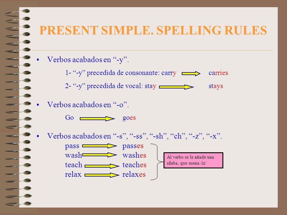 PRESENT SIMPLE. SPELLING RULES Verbos acabados en -y. 1- -y precedida de consonante: carry carries 2- -y precedida de vocal: stay stays Verbos acabado