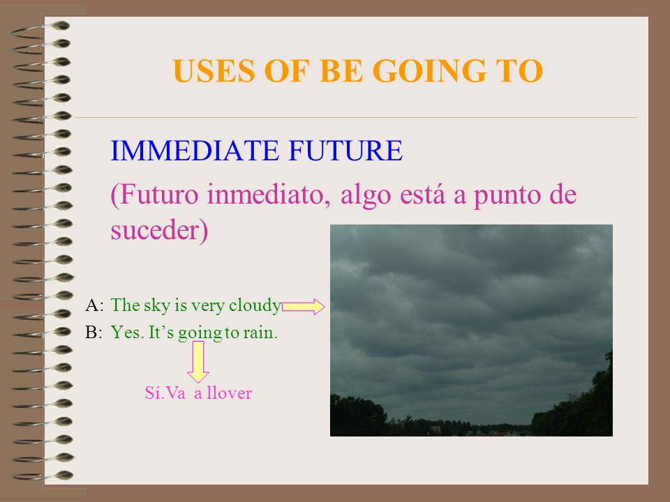 USES OF BE GOING TO IMMEDIATE FUTURE (Futuro inmediato, algo está a punto de suceder) A:The sky is very cloudy B:Yes. Its going to rain. Sí.Va a llove