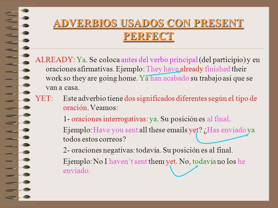 ADVERBIOS USADOS CON PRESENT PERFECT ALREADY: Ya. Se coloca antes del verbo principal (del participio) y en oraciones afirmativas. Ejemplo: They have