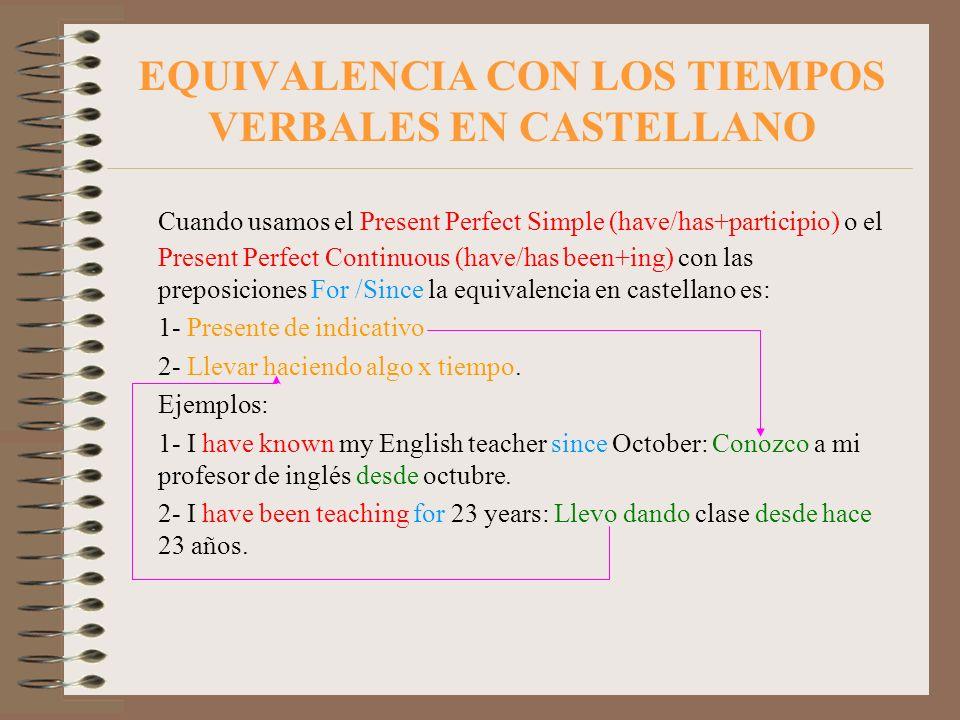 EQUIVALENCIA CON LOS TIEMPOS VERBALES EN CASTELLANO Cuando usamos el Present Perfect Simple (have/has+participio) o el Present Perfect Continuous (hav