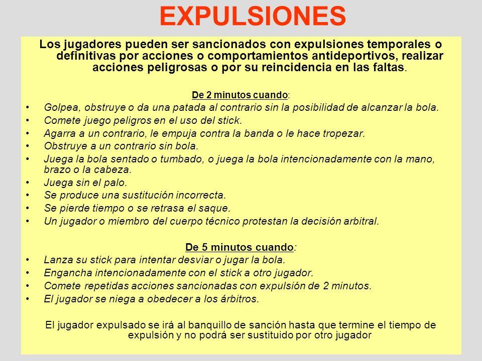 11 EXPULSIONES Los jugadores pueden ser sancionados con expulsiones temporales o definitivas por acciones o comportamientos antideportivos, realizar a