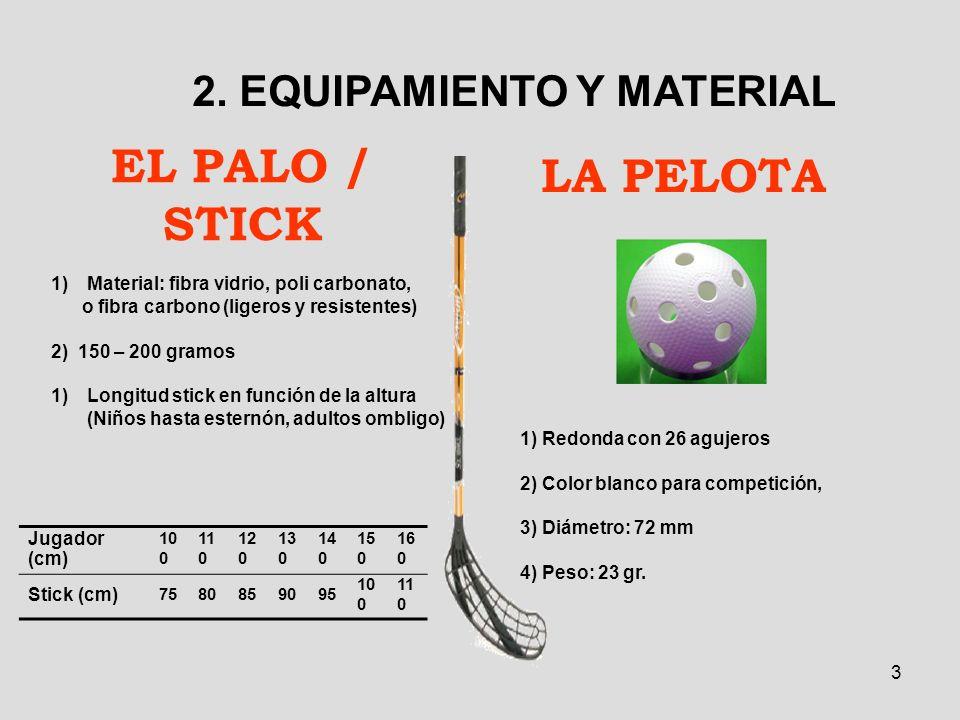 3 EL PALO / STICK 2. EQUIPAMIENTO Y MATERIAL 1)Material: fibra vidrio, poli carbonato, o fibra carbono (ligeros y resistentes) 2) 150 – 200 gramos 1)L