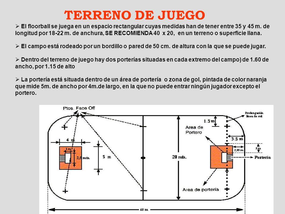4 TERRENO DE JUEGO El floorball se juega en un espacio rectangular cuyas medidas han de tener entre 35 y 45 m. de longitud por 18-22 m. de anchura, SE