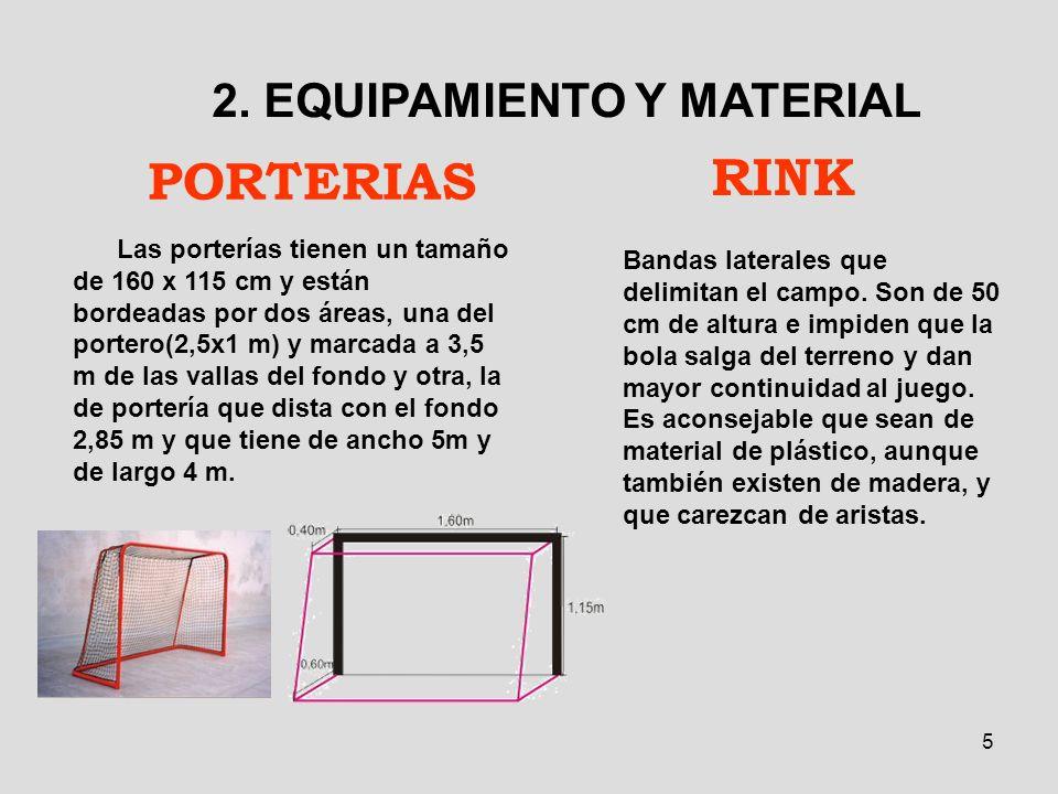 5 PORTERIAS 2. EQUIPAMIENTO Y MATERIAL Las porterías tienen un tamaño de 160 x 115 cm y están bordeadas por dos áreas, una del portero(2,5x1 m) y marc