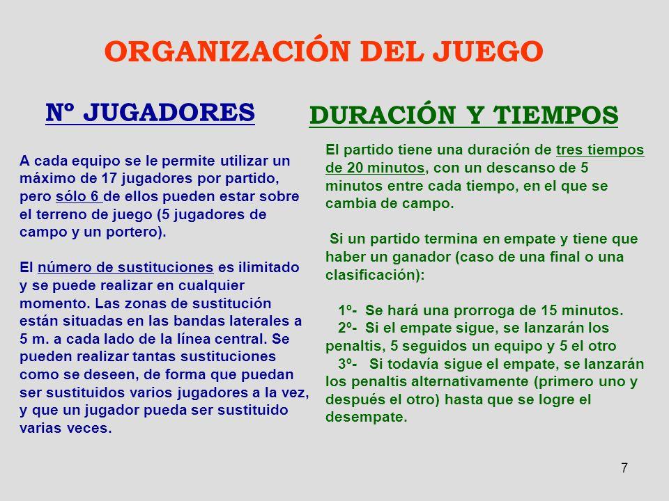 7 ORGANIZACIÓN DEL JUEGO Nº JUGADORES A cada equipo se le permite utilizar un máximo de 17 jugadores por partido, pero sólo 6 de ellos pueden estar so