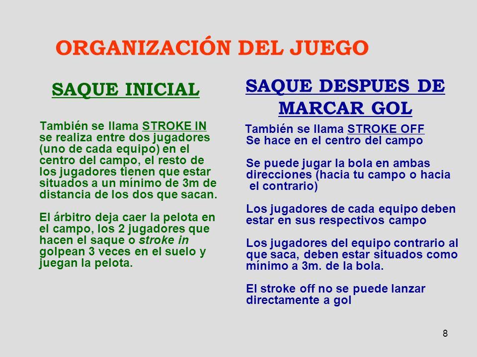 8 ORGANIZACIÓN DEL JUEGO SAQUE INICIAL También se llama STROKE IN se realiza entre dos jugadores (uno de cada equipo) en el centro del campo, el resto