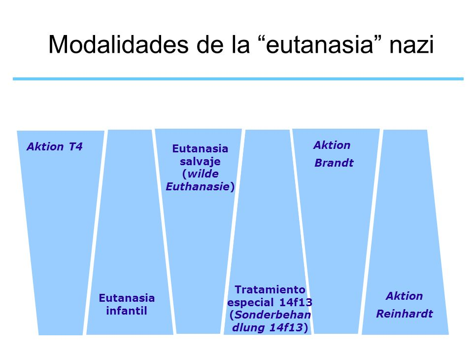 Modalidades de la eutanasia nazi Aktion T4 Eutanasia salvaje (wilde Euthanasie) Eutanasia infantil Tratamiento especial 14f13 (Sonderbehan dlung 14f13