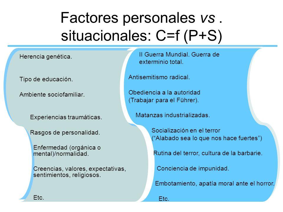 Factores personales vs. situacionales: C=f (P+S) Herencia genética. Tipo de educación. Ambiente sociofamiliar. Experiencias traumáticas. Rasgos de per