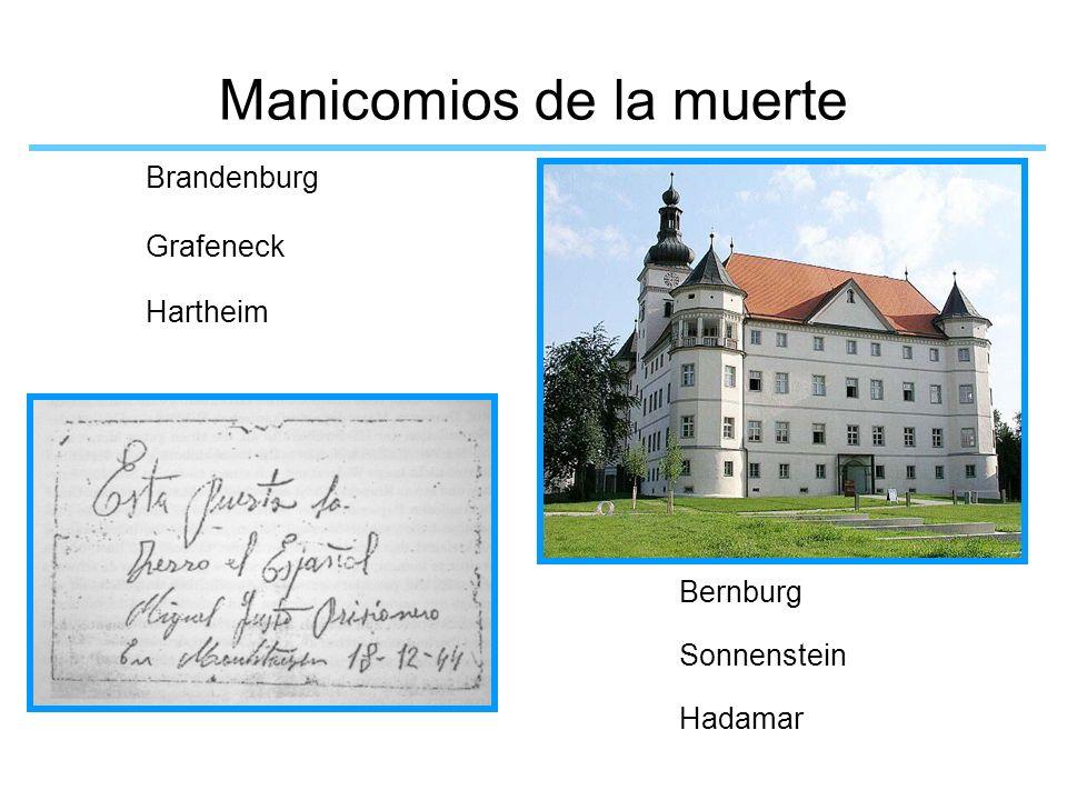 Manicomios de la muerte Brandenburg Grafeneck Hartheim Bernburg Sonnenstein Hadamar