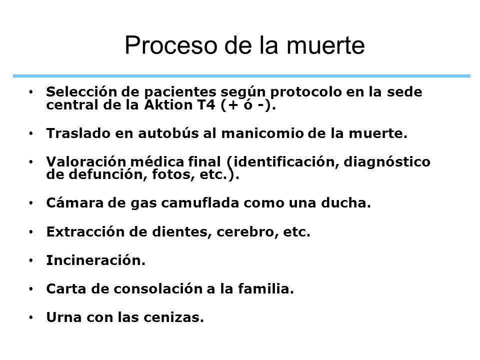Proceso de la muerte Selección de pacientes según protocolo en la sede central de la Aktion T4 (+ ó -). Traslado en autobús al manicomio de la muerte.