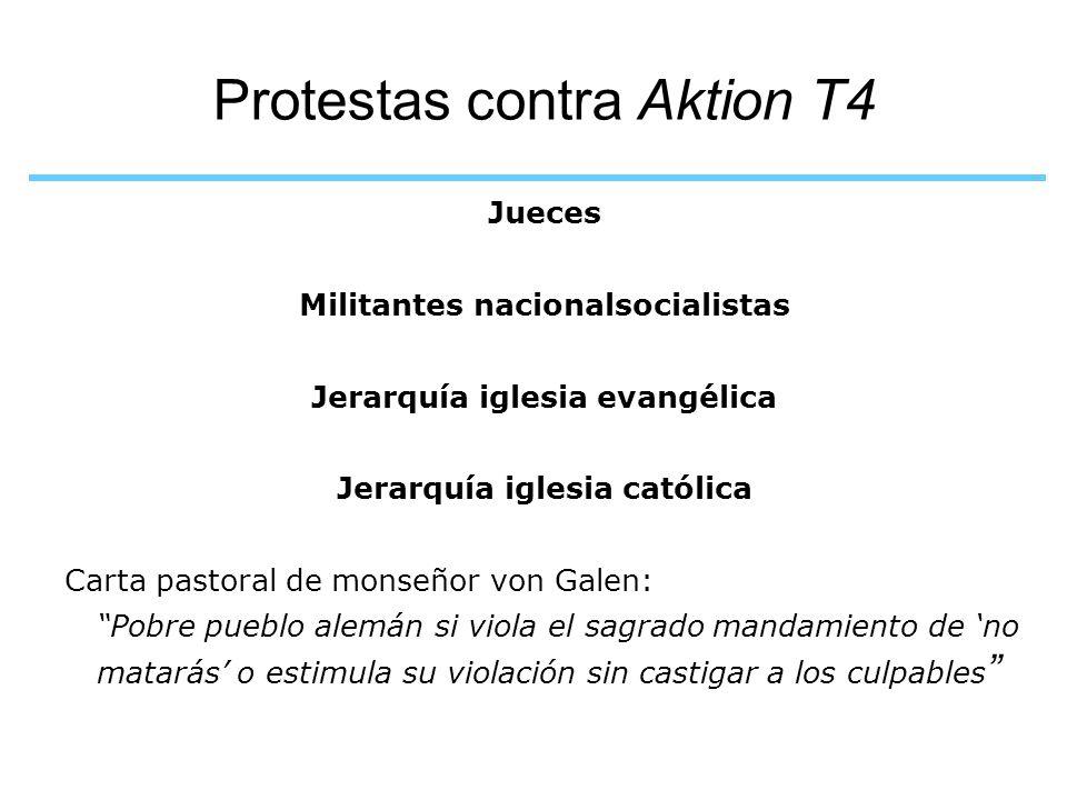 Protestas contra Aktion T4 Jueces Militantes nacionalsocialistas Jerarquía iglesia evangélica Jerarquía iglesia católica Carta pastoral de monseñor vo