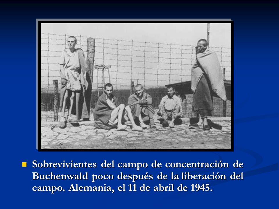 Sobrevivientes del campo de concentración de Buchenwald poco después de la liberación del campo. Alemania, el 11 de abril de 1945. Sobrevivientes del