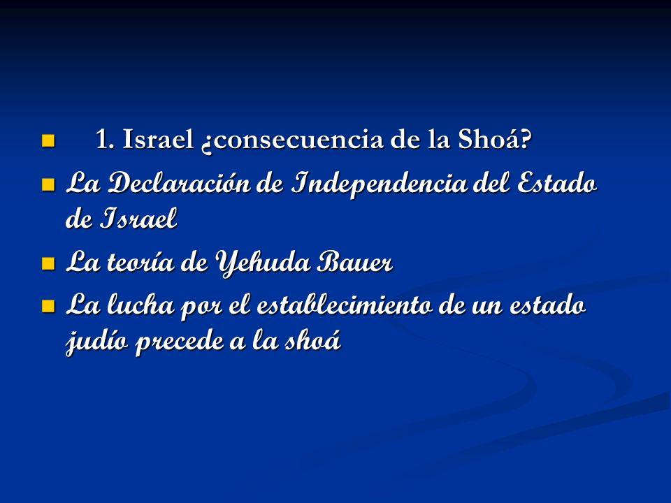 1. Israel ¿consecuencia de la Shoá? 1. Israel ¿consecuencia de la Shoá? La Declaración de Independencia del Estado de Israel La Declaración de Indepen