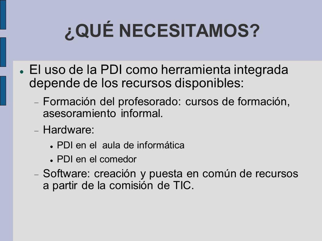¿QUÉ NECESITAMOS? El uso de la PDI como herramienta integrada depende de los recursos disponibles: Formación del profesorado: cursos de formación, ase