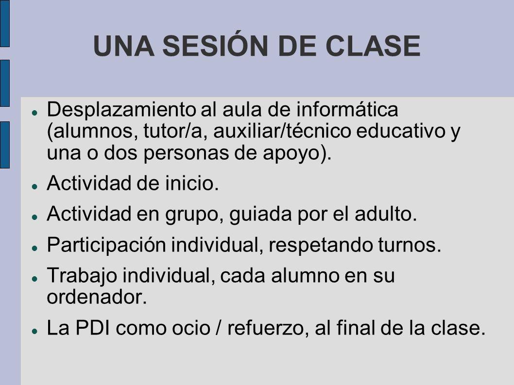 UNA SESIÓN DE CLASE Desplazamiento al aula de informática (alumnos, tutor/a, auxiliar/técnico educativo y una o dos personas de apoyo). Actividad de i
