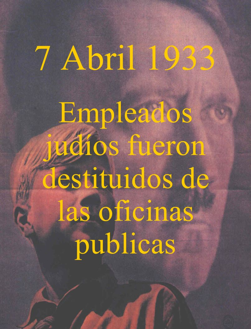 7 Abril 1933 Empleados judíos fueron destituidos de las oficinas publicas