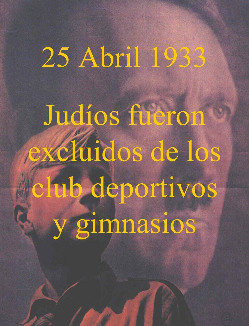 25 Abril 1933 Judíos fueron excluidos de los club deportivos y gimnasios