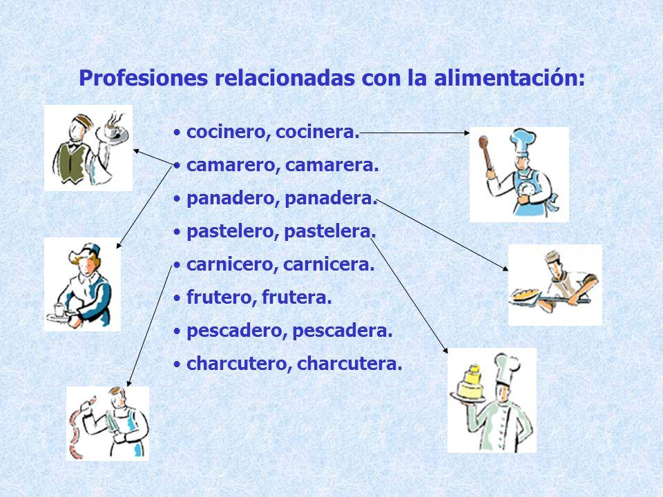 Profesiones relacionadas con la alimentación: cocinero, cocinera. camarero, camarera. panadero, panadera. pastelero, pastelera. carnicero, carnicera.