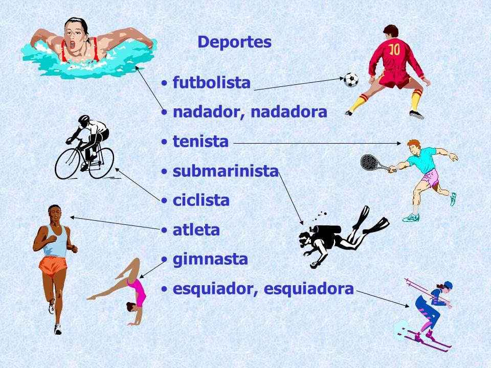 Deportes futbolista nadador, nadadora tenista submarinista ciclista atleta gimnasta esquiador, esquiadora