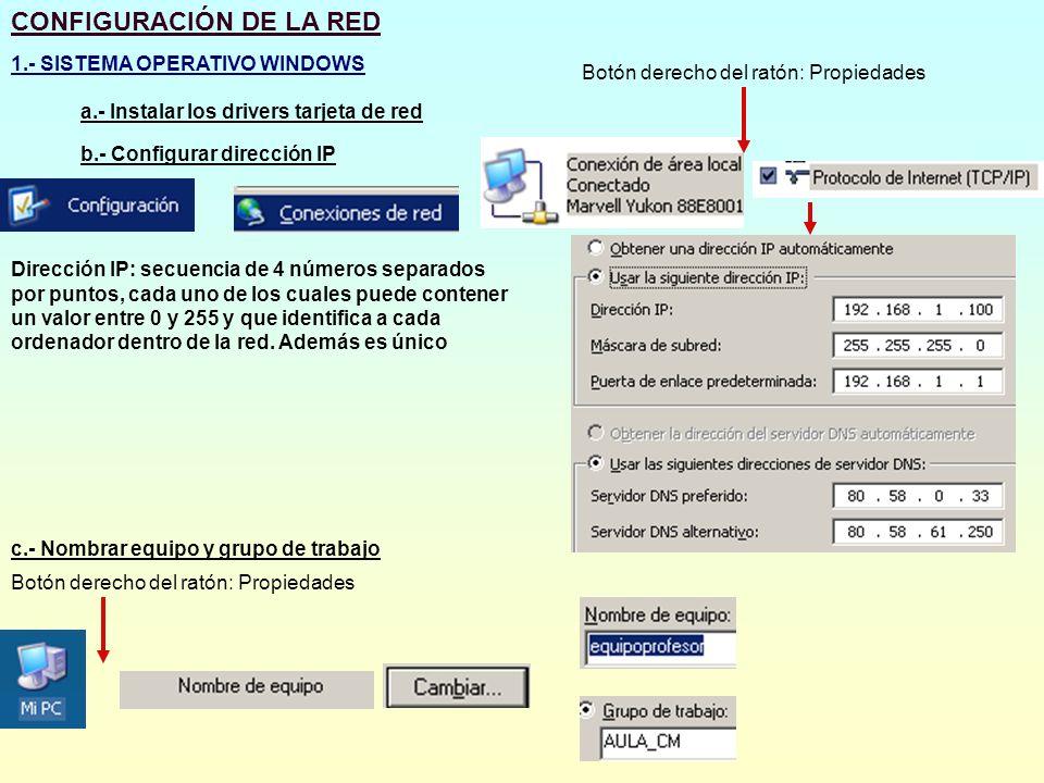 CONFIGURACIÓN DE LA RED 1.- SISTEMA OPERATIVO WINDOWS a.- Instalar los drivers tarjeta de red b.- Configurar dirección IP Botón derecho del ratón: Pro