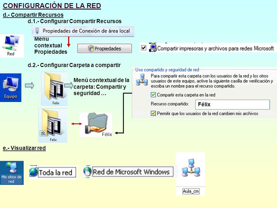 CONFIGURACIÓN DE LA RED d.- Compartir Recursos d.1.- Configurar Compartir Recursos Menú contextual Propiedades d.2.- Configurar Carpeta a compartir Me