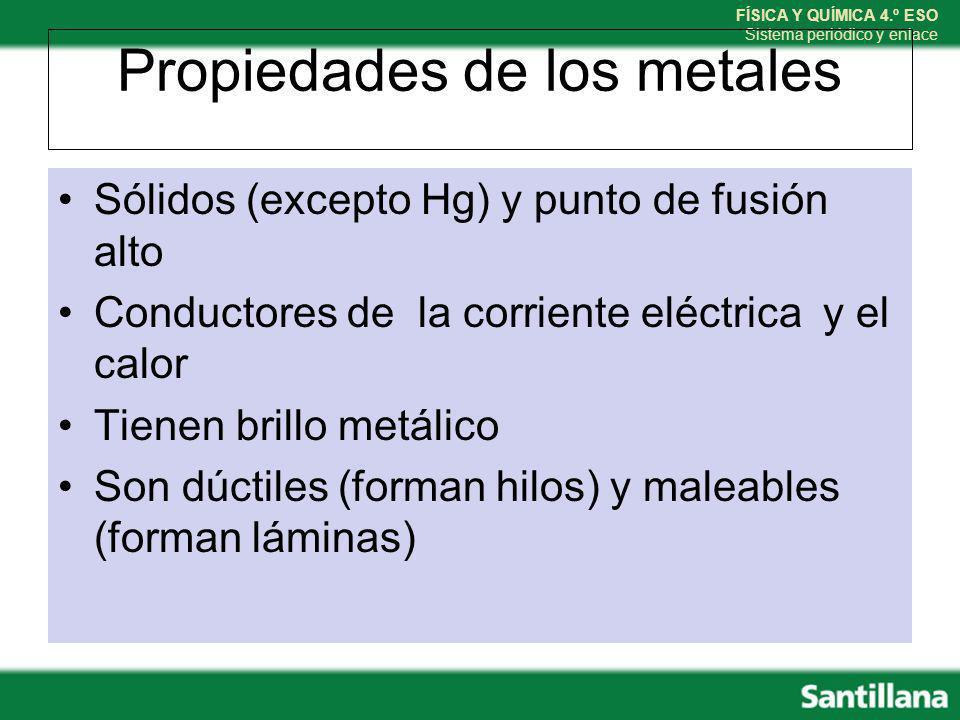 FÍSICA Y QUÍMICA 4.º ESO Sistema periódico y enlace Propiedades de los metales Sólidos (excepto Hg) y punto de fusión alto Conductores de la corriente