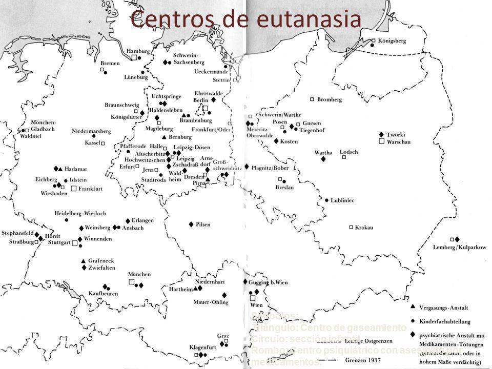 Centros de eutanasia Símbolos: Triángulo: Centro de gaseamiento Círculo: sección infantil Rombo: Centro psiquiátrico con asesinato por medicamentos.