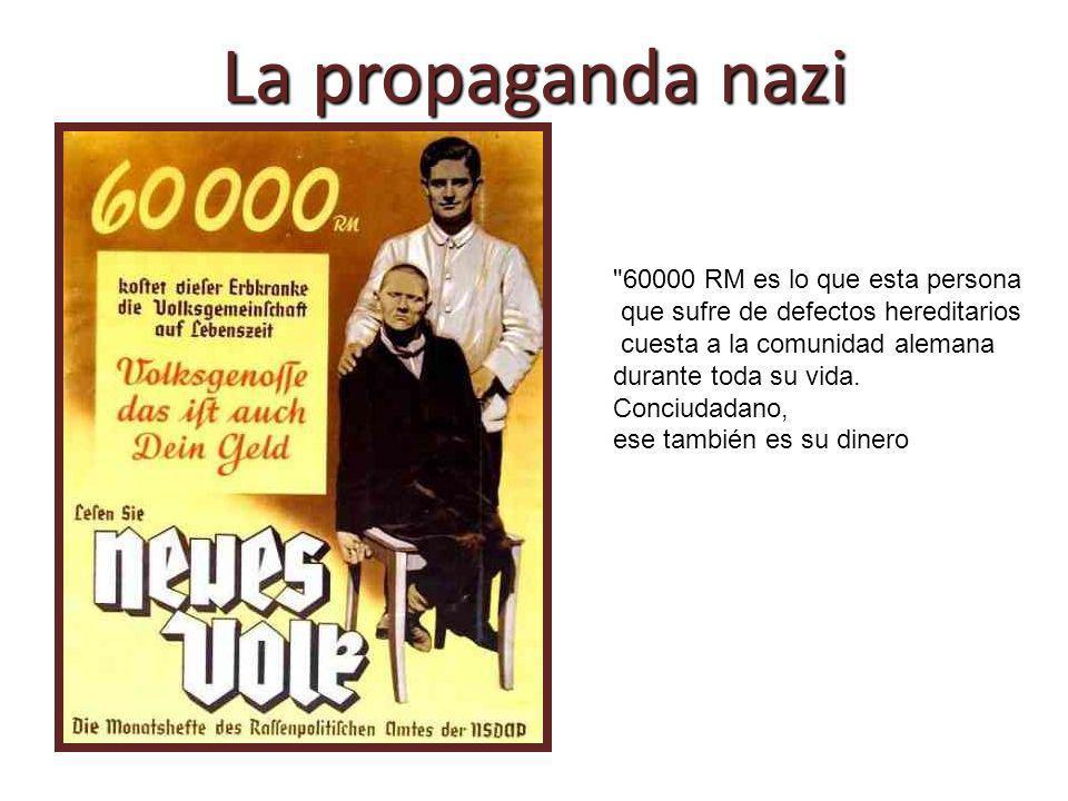 Un enfermo con una enfermedad hereditaria cuesta por término medio para cuando alcanza los 50 años 50.000 Reichsmark (marcos del Reich)