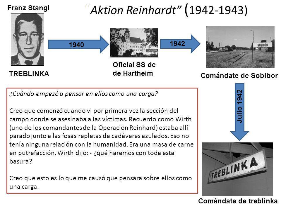 1940 Franz Stangl Oficial SS de de Hartheim Comándate de Sobibor 1942 Julio 1942 Comándate de treblinka Aktion Reinhardt ( 1942-1943) ¿Cuándo empezó a