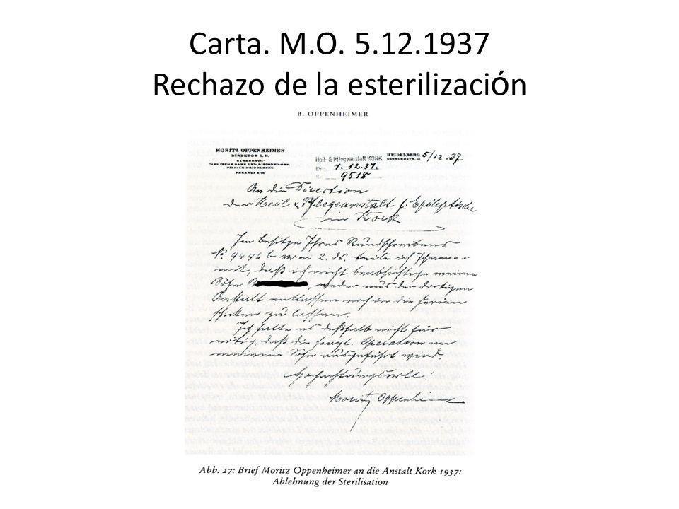 Carta. M.O. 5.12.1937 Rechazo de la esterilizaci ó n