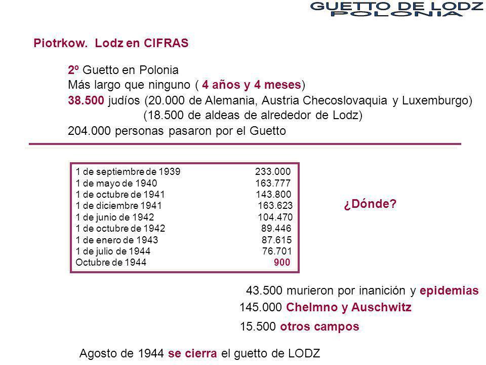 Piotrkow. Lodz en CIFRAS 2º Guetto en Polonia Más largo que ninguno ( 4 años y 4 meses) 38.500 judíos (20.000 de Alemania, Austria Checoslovaquia y Lu