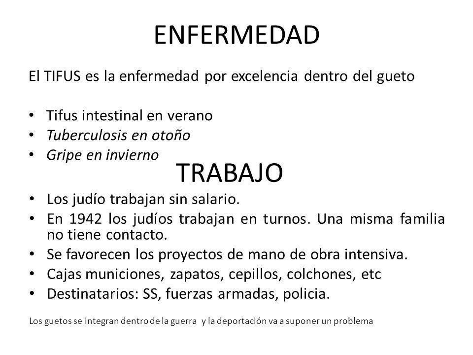 ENFERMEDAD El TIFUS es la enfermedad por excelencia dentro del gueto Tifus intestinal en verano Tuberculosis en otoño Gripe en invierno TRABAJO Los ju