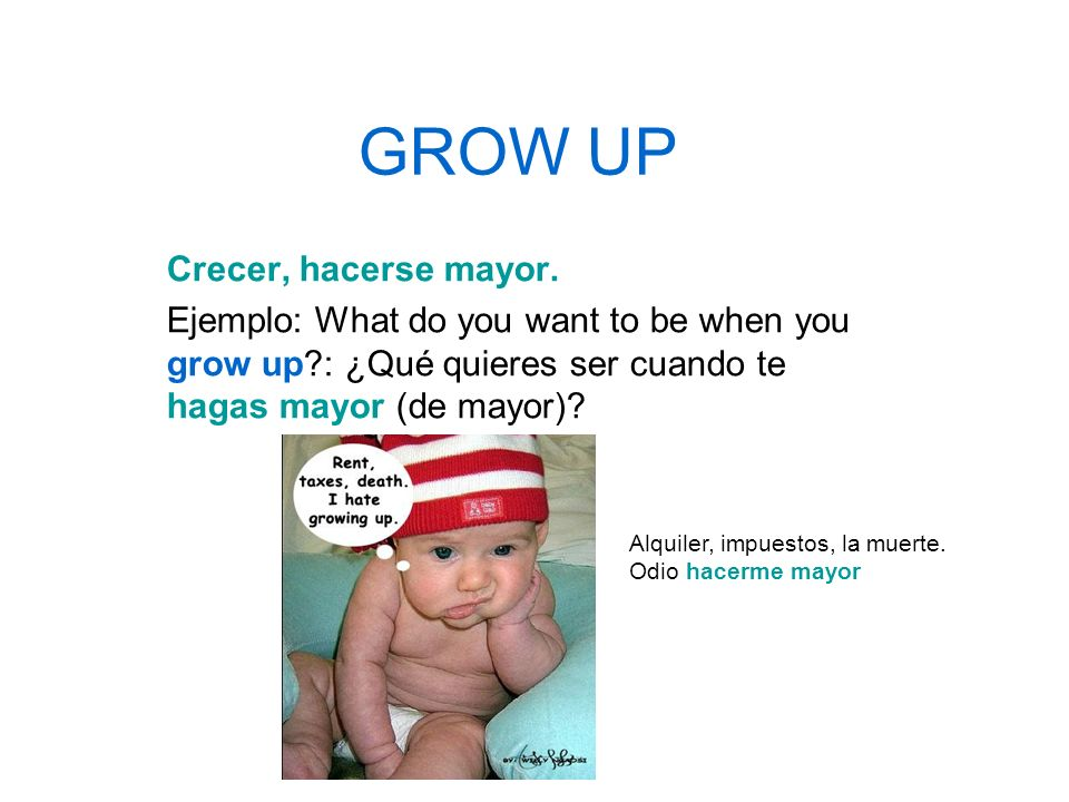 GROW UP Crecer, hacerse mayor. Ejemplo: What do you want to be when you grow up?: ¿Qué quieres ser cuando te hagas mayor (de mayor)? Alquiler, impuest