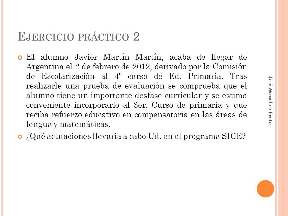 E JERCICIO PRÁCTICO 2 El alumno Javier Martín Martín, acaba de llegar de Argentina el 2 de febrero de 2012, derivado por la Comisión de Escolarización al 4º curso de Ed.