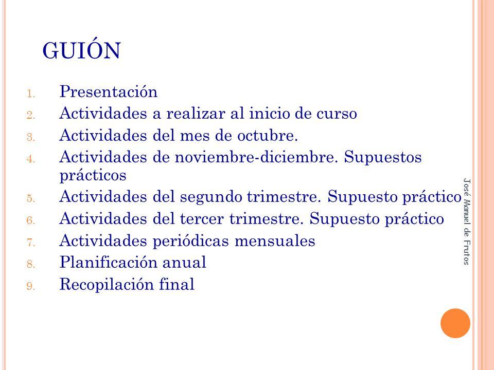 GUIÓN 1.Presentación 2. Actividades a realizar al inicio de curso 3.