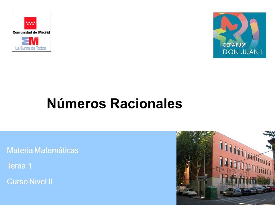 Materia Matemáticas Tema 1 Curso Nivel II Números Racionales