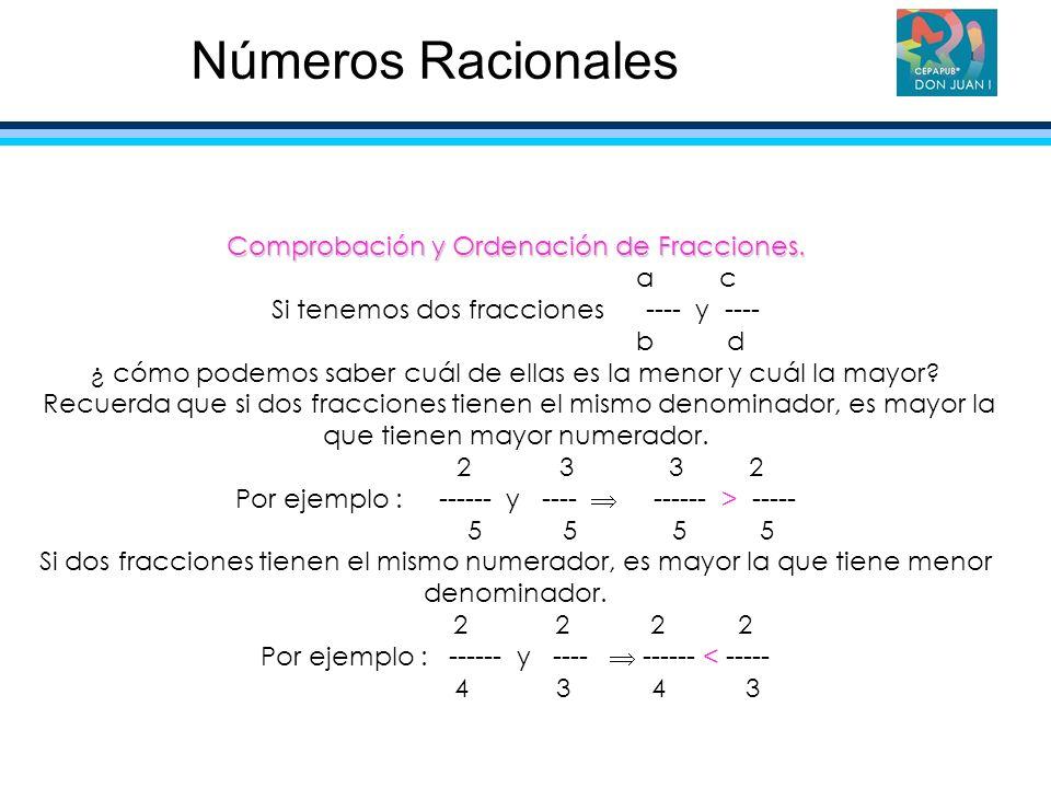 Comprobación y Ordenación de Fracciones. a c Si tenemos dos fracciones ---- y ---- b d ¿ cómo podemos saber cuál de ellas es la menor y cuál la mayor?