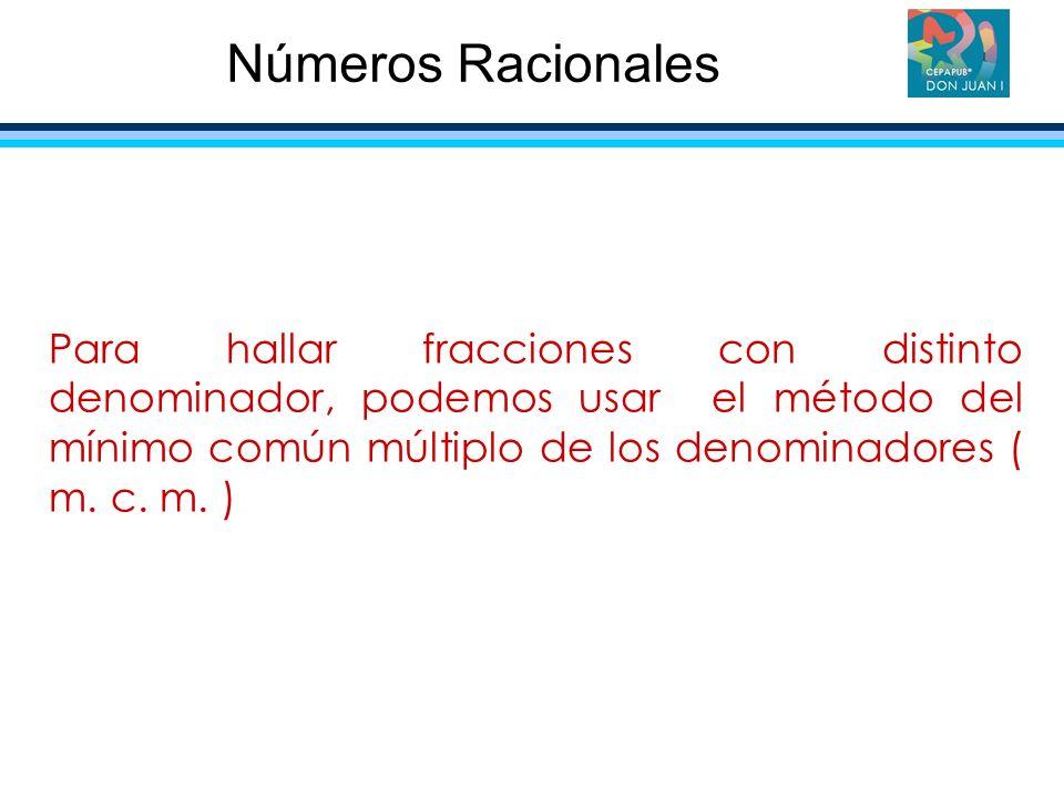 Para hallar fracciones con distinto denominador, podemos usar el método del mínimo común múltiplo de los denominadores ( m. c. m. ) Números Racionales