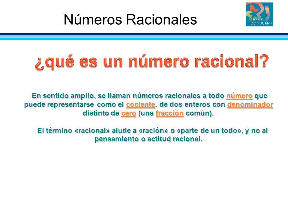 En sentido amplio, se llaman números racionales a todo número que puede representarse como el cociente, de dos enteros con denominador distinto de cer