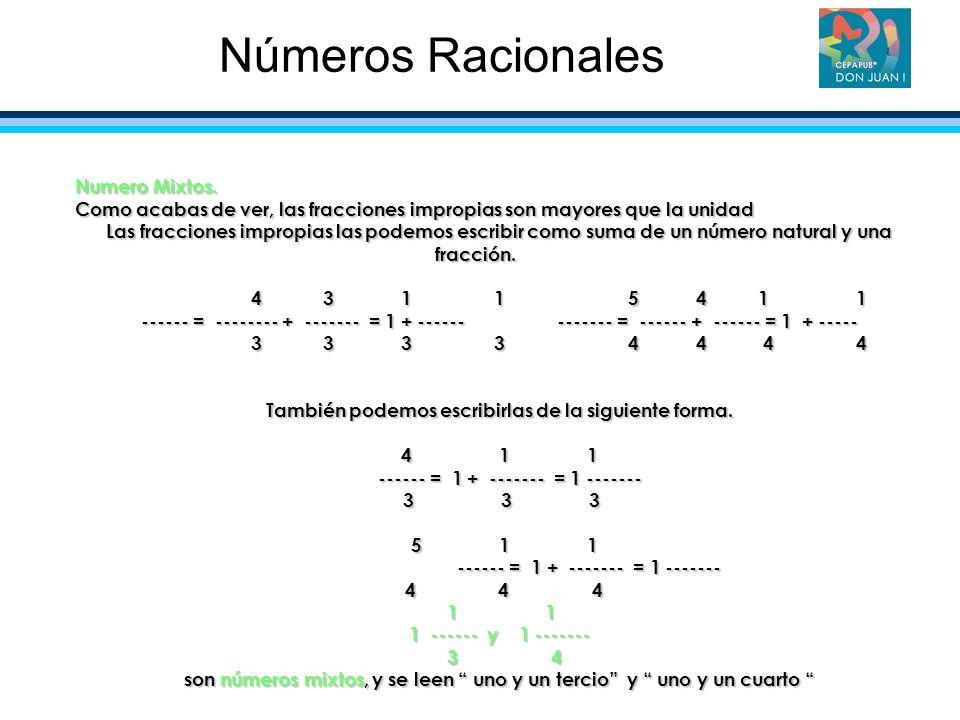 Numero Mixtos. Como acabas de ver, las fracciones impropias son mayores que la unidad Las fracciones impropias las podemos escribir como suma de un nú