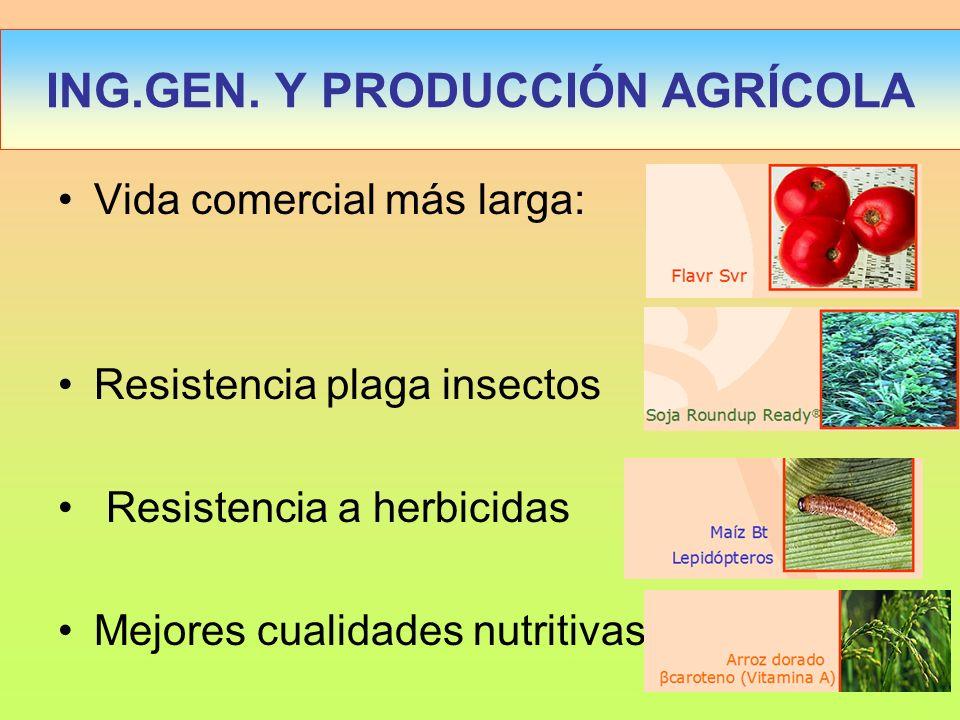 Vida comercial más larga: Resistencia plaga insectos Resistencia a herbicidas Mejores cualidades nutritivas